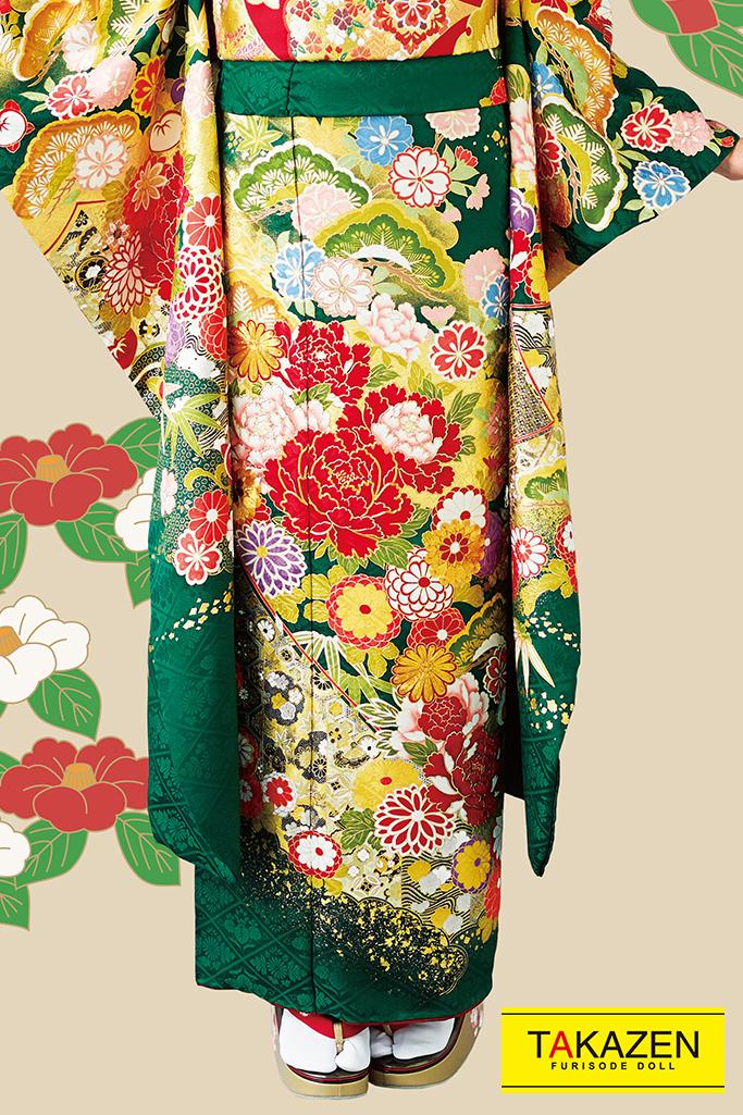 【成人式人気振袖/レンタルフルセット/通販可】上品可愛い古典(古風高級で豪華) 赤/グリーン(緑色) 32057