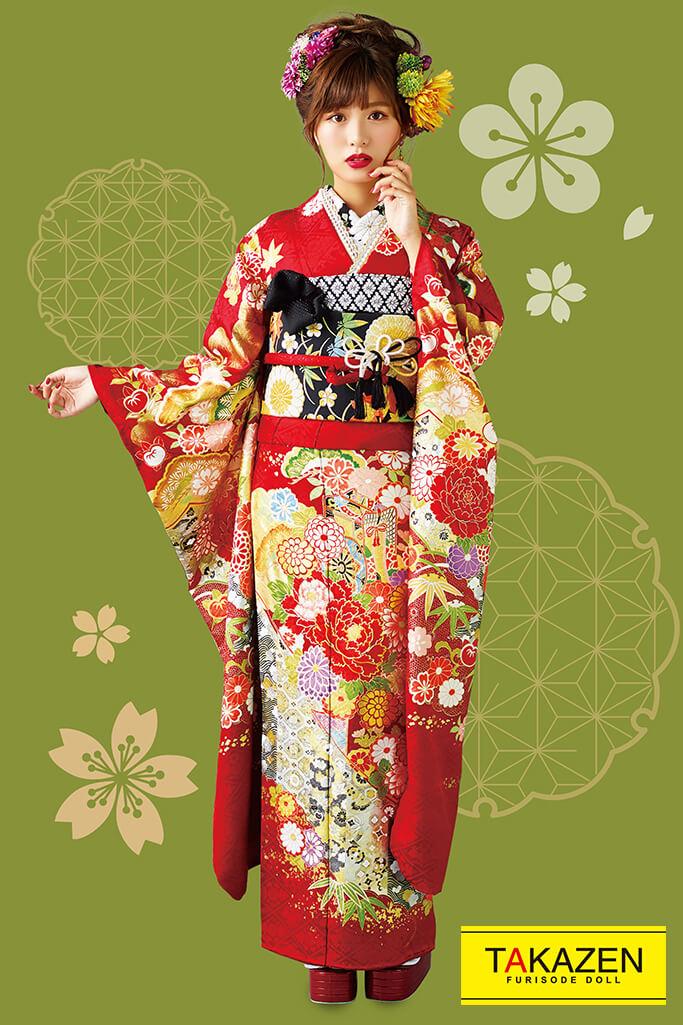 【成人式人気着物/レンタルフルセット/通販可】上品古典(派手可愛い豪華) 赤/ゴールド(金色) 32059