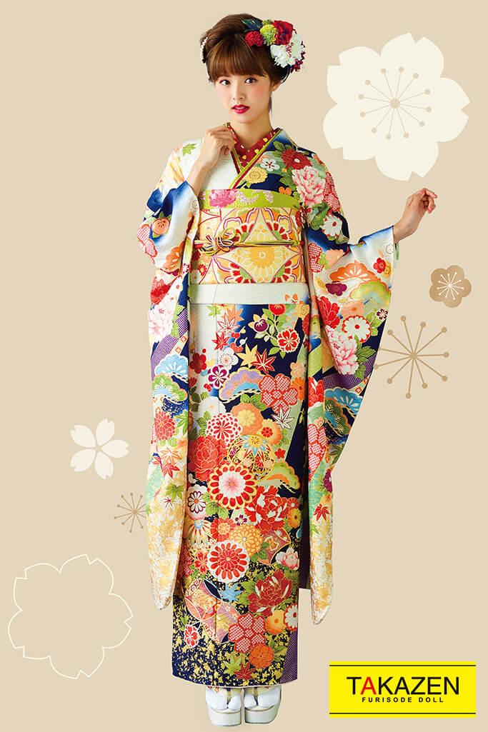 【成人式人気振袖/レンタルフルセット/通販可】上品かわいい古典(大人豪華) 白/紺/オレンジ 32060