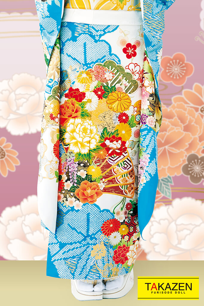 【成人式人気着物/レンタルフルセット/通販可】上品きれい古典(派手可愛い豪華) 白/ブルー(水色) 32061