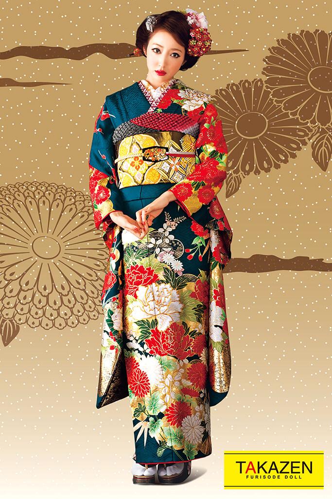 【成人式人気着物/レンタルフルセット/通販可】上品かっこいい古典(豪華金彩加工) 紺/赤/ゴールド 32064