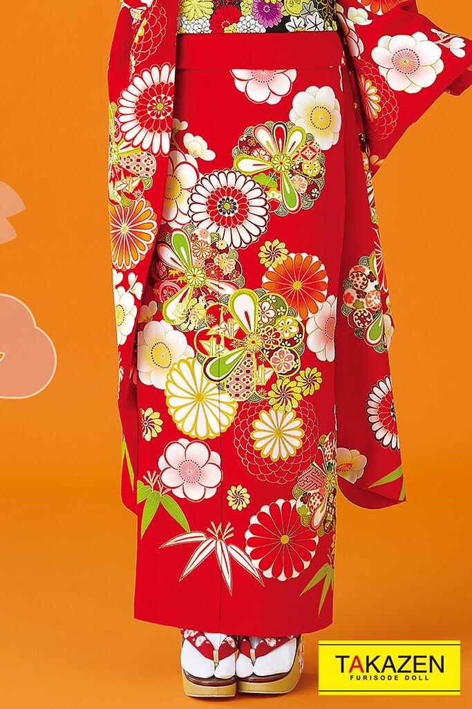 【成人式人気振袖/レンタルフルセット/通販可】上品シンプル古典(柄少なめかわいい) 赤/白/オレンジ 32069