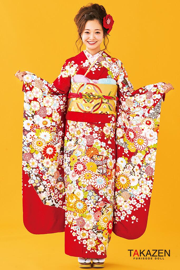 【成人式人気振袖/レンタルフルセット/通販可】上品絞り風古典(かわいい豪華) 赤/白/クリーム 32071