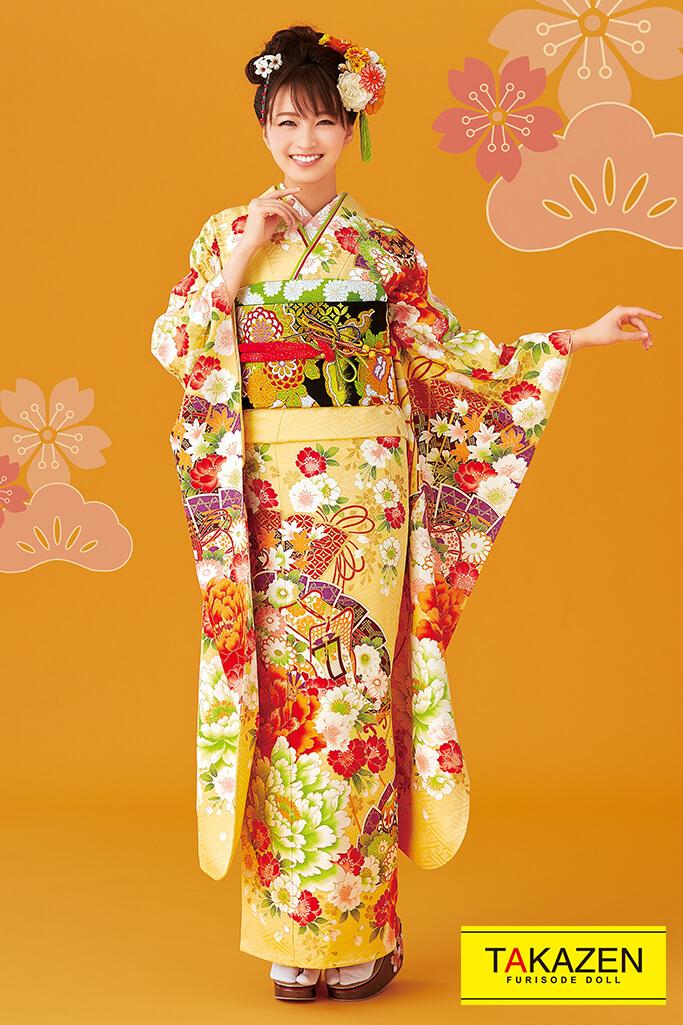 【成人式人気着物/レンタルフルセット/通販可】上品流行り古典(大人可愛い豪華) オレンジ/黄色 32076