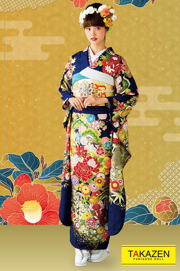 【成人式人気着物/レンタルフルセット/通販可】上品古典(高級大人っぽい豪華) 紺/赤/ゴールド(金色) 32082