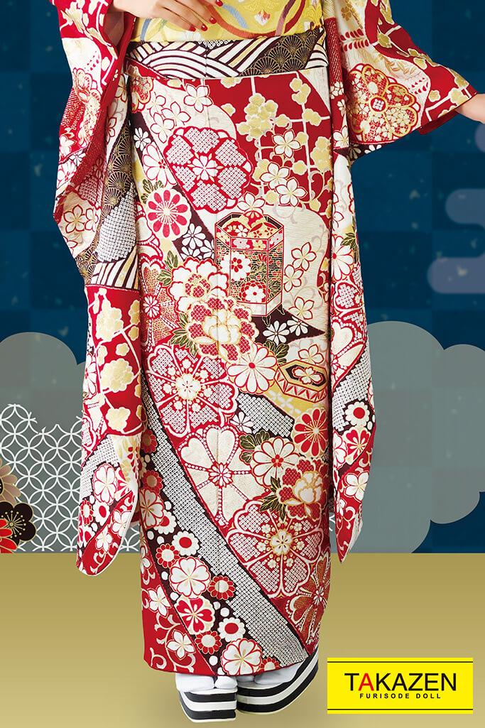 【成人式人気着物/レンタルフルセット/通販可】上品古典(高級大人っぽい豪華) 赤/白/ゴールド(金色) 32083