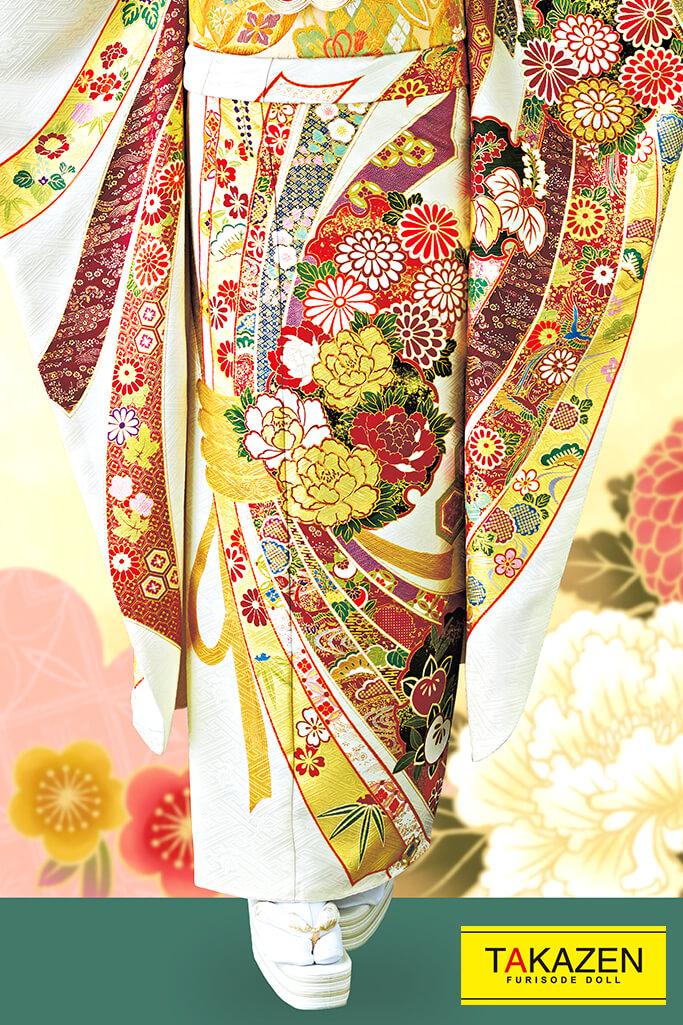 【成人式人気着物/レンタルフルセット/通販可】上品高級綺麗古典(受賞柄熨斗柄) 白/クリーム/ゴールド(金色) 32085