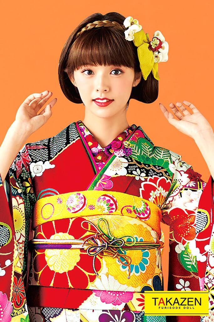 個性的おしゃれレトロモダン古典(流行り可愛い) 赤/黒/黄/水色 32097