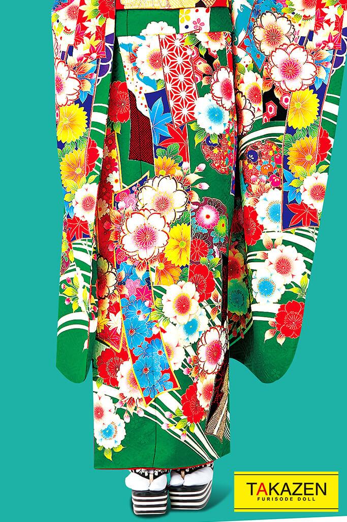 個性的おしゃれレトロモダン古典(流行り可愛い) 黄/赤/グリーン(緑色) 32099
