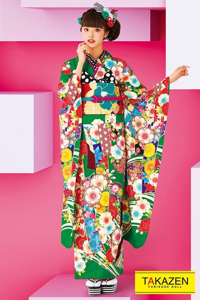 【成人式人気着物/レンタルフルセット/通販可】個性的おしゃれレトロモダン古典(流行り可愛い) 黄/赤/グリーン(緑色) 32099