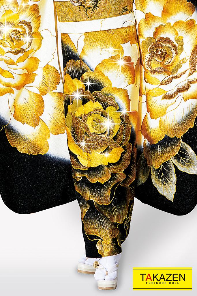 【成人式人気振袖/レンタルフルセット/通販可】派手一番目立つクール系(豪華大きいバラ柄) 黒/白/金(ゴールド) 32102