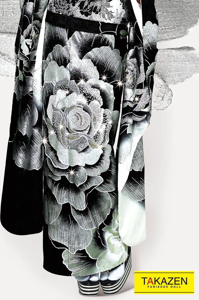 【成人式人気着物/レンタルフルセット/通販可】派手目立つゴージャス(豪華流行りカッコイイ) 黒/グレー/シルバー(銀色) 32105