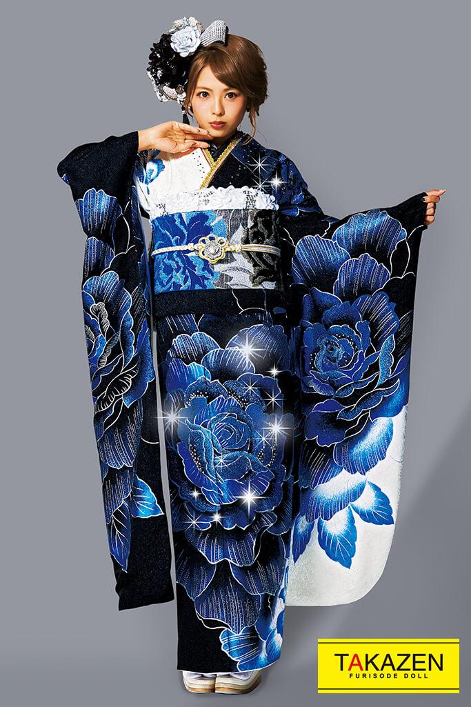 【成人式人気振袖/レンタルフルセット/通販可】派手目立つクール(豪華大きいバラ柄) 黒/ブルー(青色)/シルバー(銀色) 32106