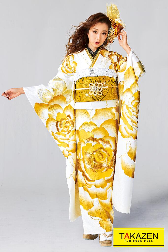【成人式人気振袖/レンタルフルセット/通販可】派手可愛いモード(目立つゴージャス) 白/ゴールド(金色) 32107