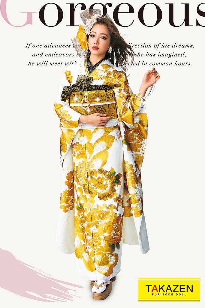 【成人式人気振袖/レンタルフルセット/通販可】高級派手目立つモード(豪華スワロフスキー付き) 白/ゴールド(金色) 32108