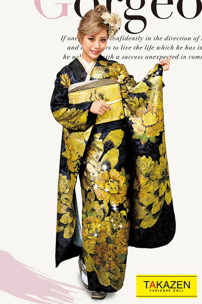 【成人式人気着物/レンタルフルセット/通販可】派手豪華おしゃれモード(一番目立つかっこいい) 黒/ゴールド(金色) 32110