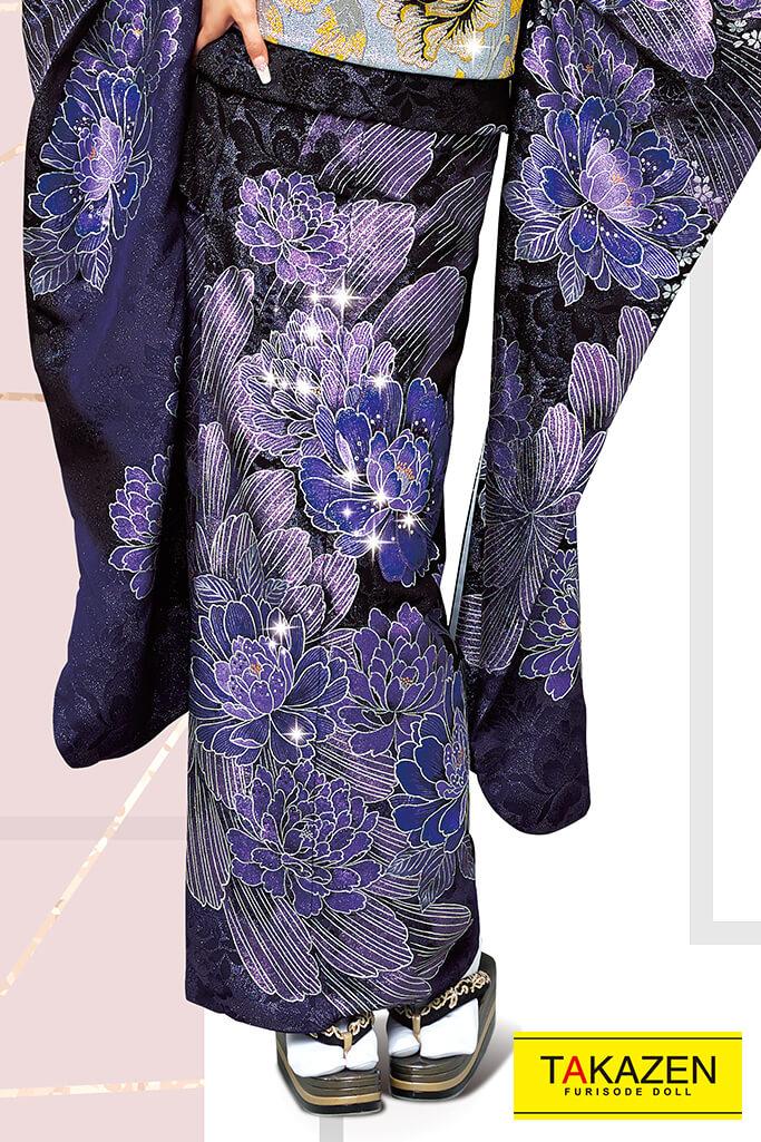 【成人式人気着物/レンタルフルセット/通販可】高級派手目立つモード(豪華スワロフスキー付き) 黒/紫 32111