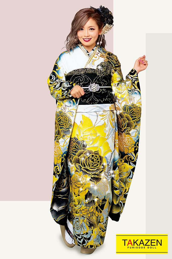 【成人式人気振袖/レンタルフルセット/通販可】派手かっこいいモード(豪華薔薇柄) 白/黒/ゴールド(金色) 32113
