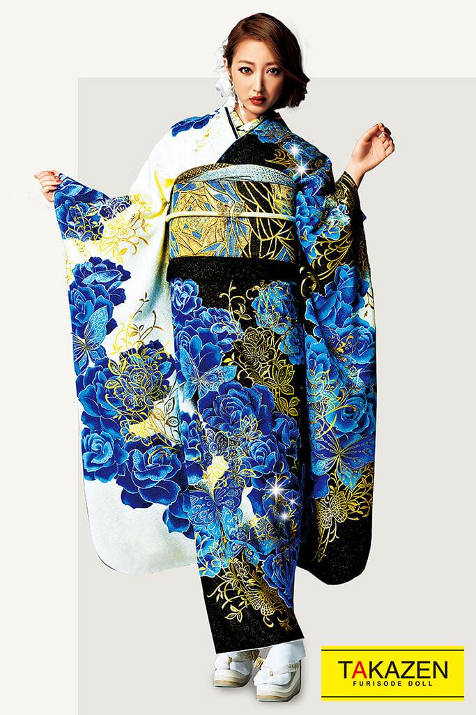 【成人式人気着物/レンタルフルセット/通販可】派手豪華モード(目立つかっこいい系) 白/黒/ブルー(青色) 32116
