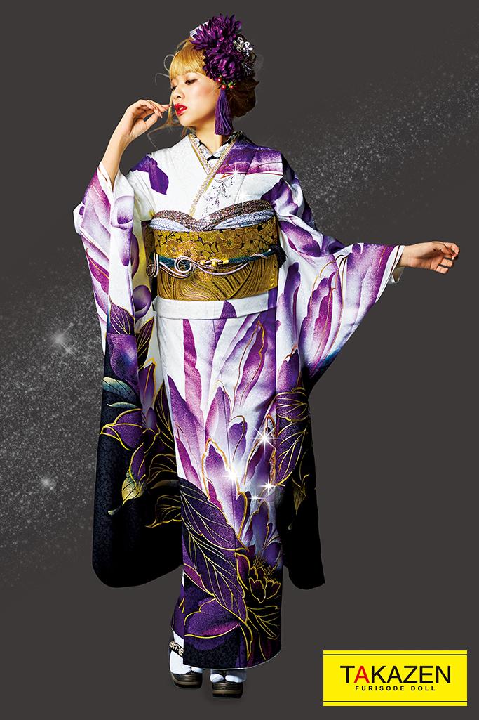 【成人式人気着物/レンタルフルセット/通販可】派手目立つモード(シンプルな大柄) 白/紫/ゴールド(金色) 32117