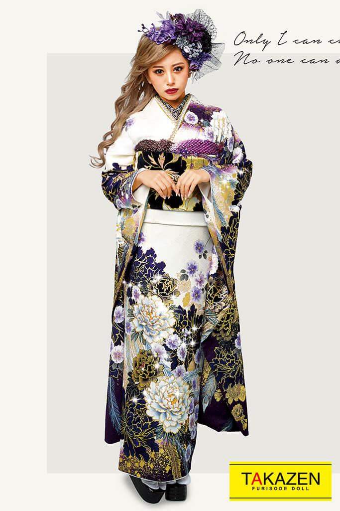 【成人式人気着物/レンタルフルセット/通販可】派手豪華クール系(かっこいいボタン柄) 白/紫/ゴールド(金色) 32118