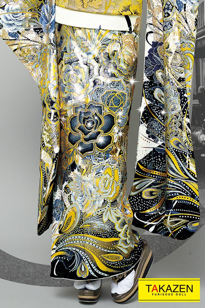 【成人式人気着物/レンタルフルセット/通販可】派手かっこいいグラマラス(豪華目立つ薔薇柄) 黒/白/ゴールド(金色) 32120