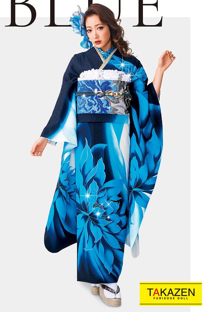 【成人式人気着物/レンタルフルセット/通販可】派手目立つクール系(人と被らない大柄) 白/黒/ブルー(青色) 32129