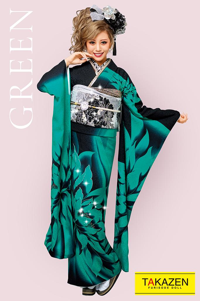 【成人式人気振袖/レンタルフルセット/通販可】派手かわいいゴージャス(目立つ大柄) 黒/グリーン(緑色) 32130