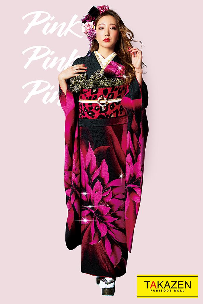 【成人式人気振袖/レンタルフルセット/通販可】派手可愛いモード(人と被らないおしゃれな大柄) 黒/ピンク 32133