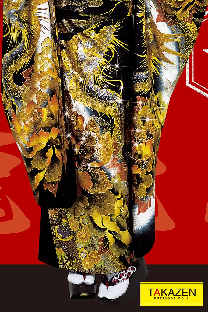 【成人式人気着物/レンタルフルセット/通販可】渋いジャパンモード花魁風(龍柄派手目立つ) 黒/ゴールド(金色) 32134
