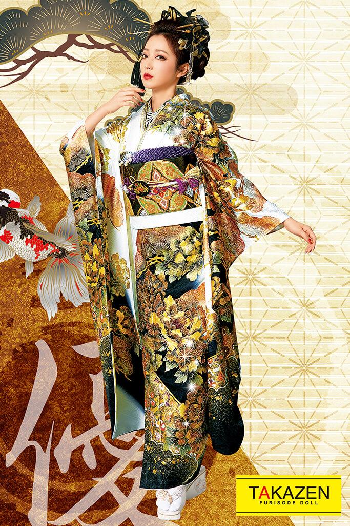 【成人式人気着物/レンタルフルセット/通販可】花魁風渋いジャパンモード(派手目立つ) 白/黒/ゴールド(金色) 32137