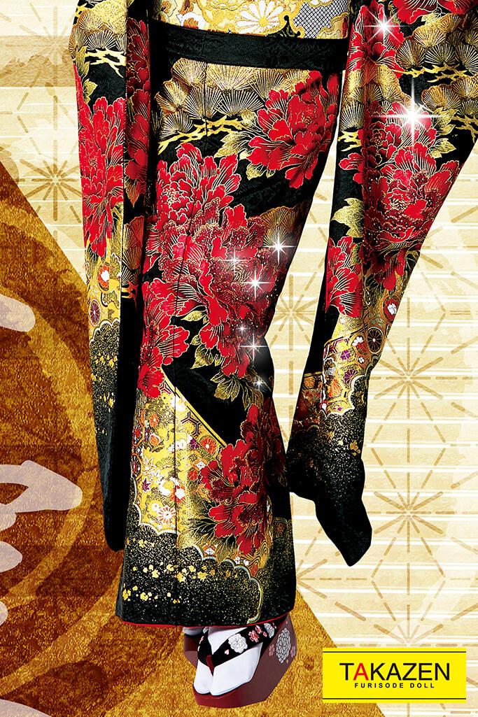 【成人式人気振袖/レンタルフルセット/通販可】渋いジャパンモード花魁風(派手目立つ) 赤/黒/ゴールド(金色) 32138