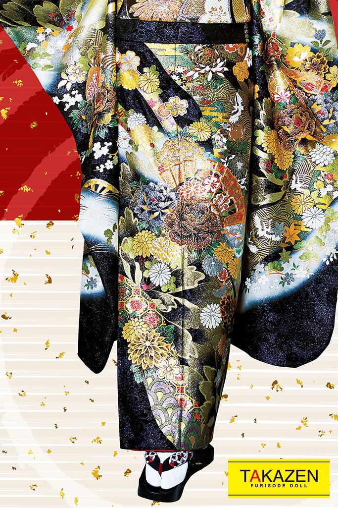 【成人式人気振袖/フルセットレンタル/通販可】渋いジャパンモード花魁風(クール系派手目立つ) 白/黒/ゴールド(金色) 32141