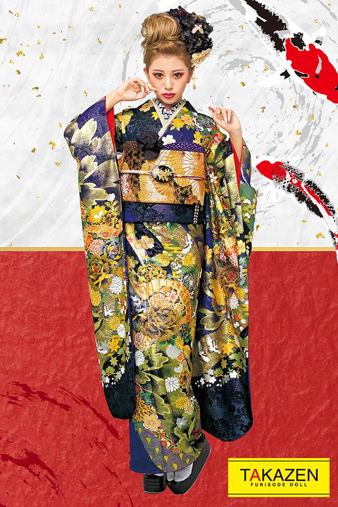 【成人式人気振袖/レンタルフルセット/通販可】人と被らないジャパンモード(花魁風クール系) 紫/黒/ゴールド(金色) 32142