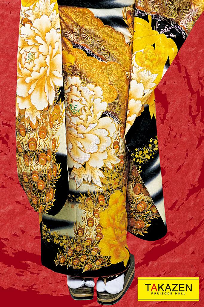 【成人式人気振袖/レンタルフルセット/通販可】渋いジャパンモード花魁風(派手目立つ孔雀柄) 白/黒/ゴールド(金色) 32144