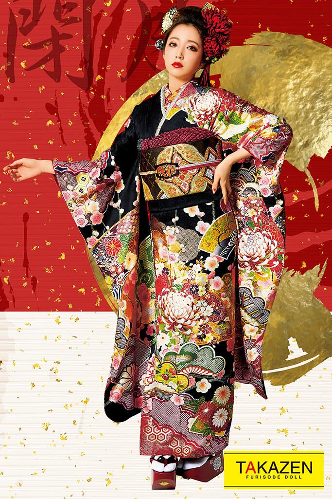 【成人式人気振袖/レンタルフルセット/通販可】渋いジャパンモード花魁風(派手クール目立つ) 白/黒/ゴールド(金色) 32145