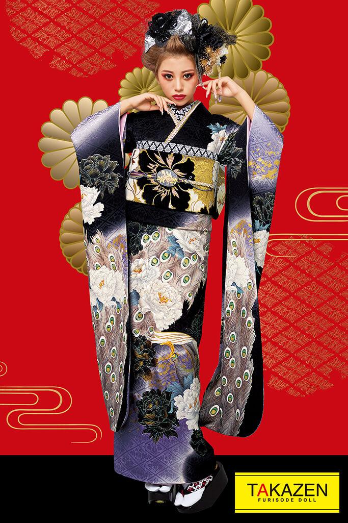 【成人式人気振袖/レンタルフルセット/通販可】派手渋いジャパンモード(花魁風孔雀柄) 紫/黒/ゴールド(金色) 32147