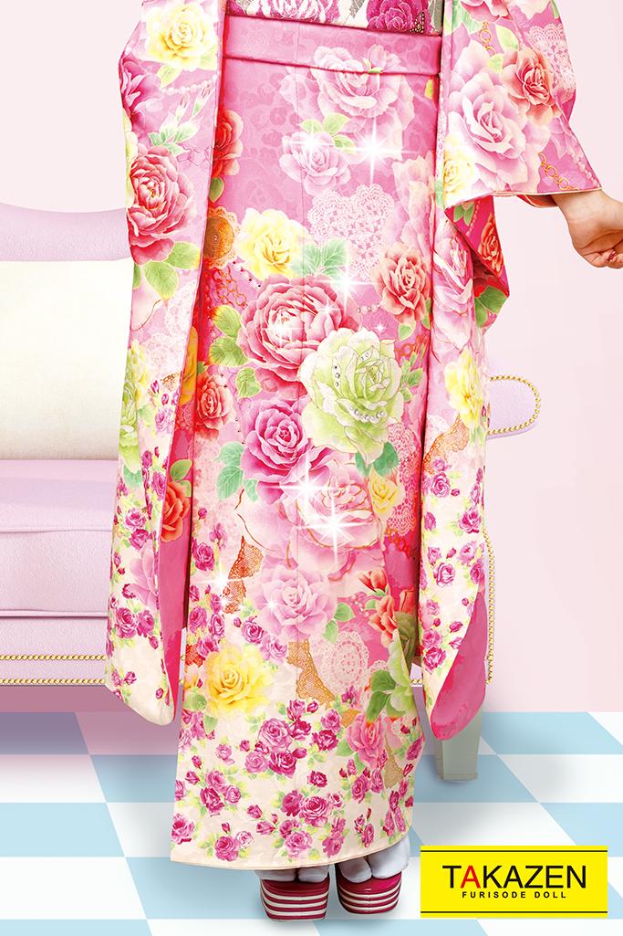 【成人式人気振袖/レンタルフルセット/通販可】キュート(ゆるふわ可愛いバラ) 白/ピンク 32150