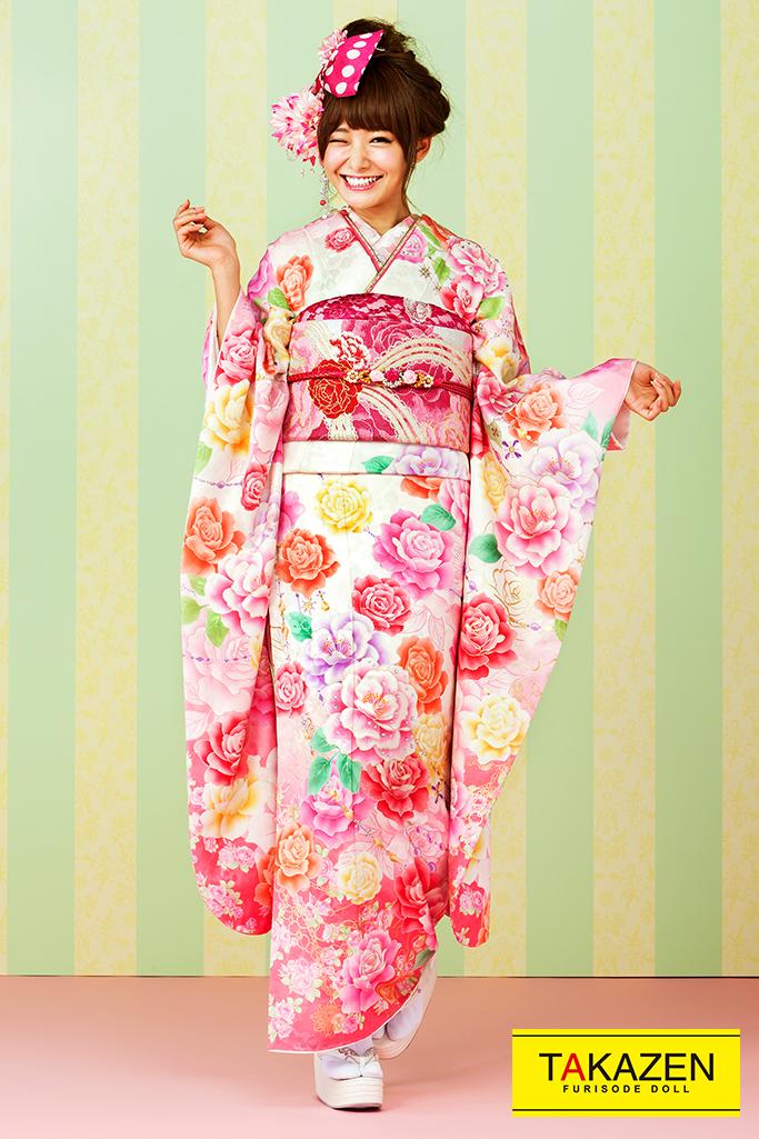 【成人式人気振袖/レンタルフルセット/通販可】キュート(ゆるふわ可愛いバラ) 白/ピンク/オレンジ 32151