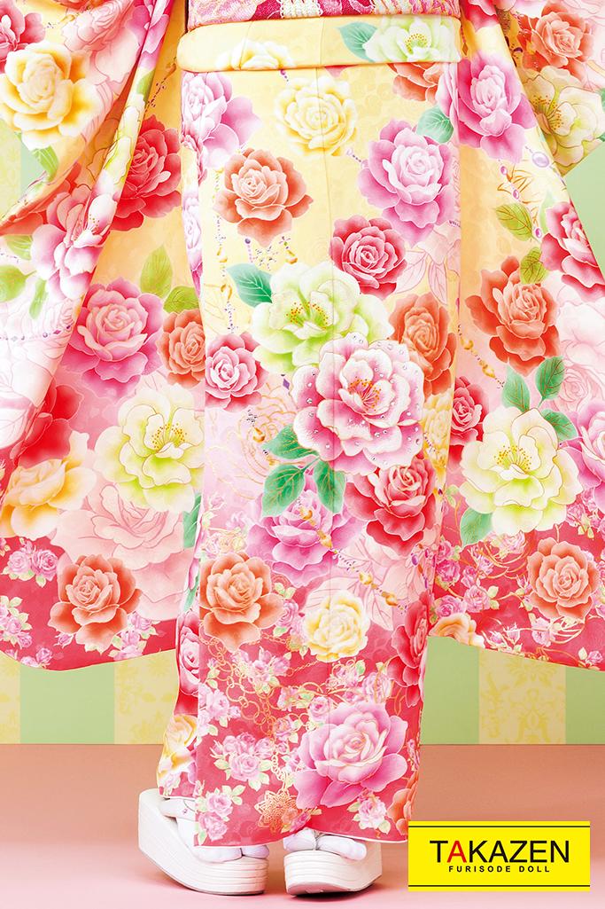 【成人式人気着物/レンタルフルセット/通販可】キュート(ゆるふわ可愛いバラ) 白/ピンク/黄色 32152