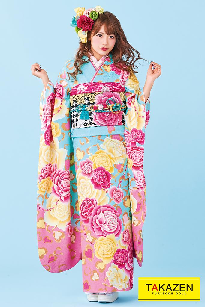 【成人式人気振袖/レンタルフルセット/通販可】キュート(ゆるふわ可愛い薔薇) 白/ピンク/ブルー(水色) 32154