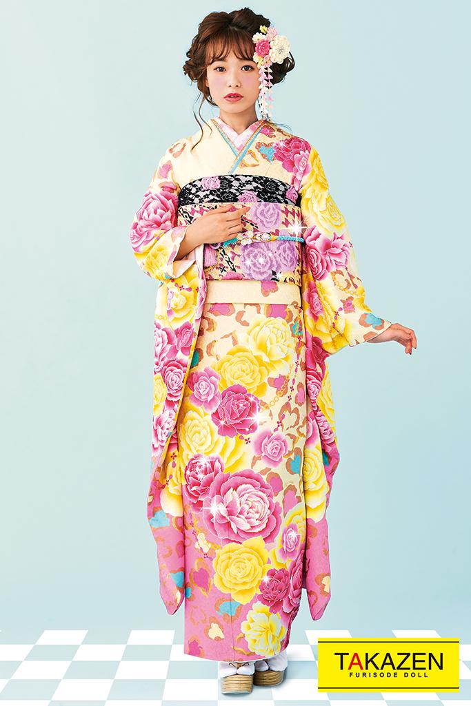 【成人式人気着物/レンタルフルセット/通販可】ヒョウ柄キュート(ゆるふわ可愛い薔薇) 白/ピンク/黄色 32155