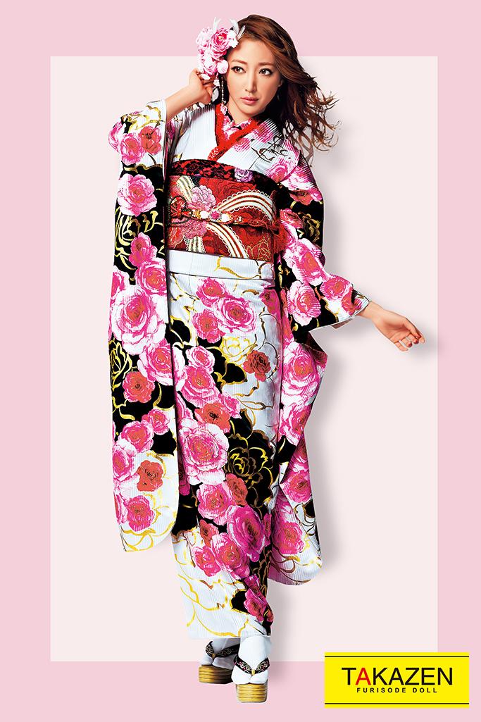 【成人式人気振袖/レンタルフルセット/通販可】CECIL Mc BEE.キュート(ゆるふわ可愛い) 白/ピンク/黒 32156
