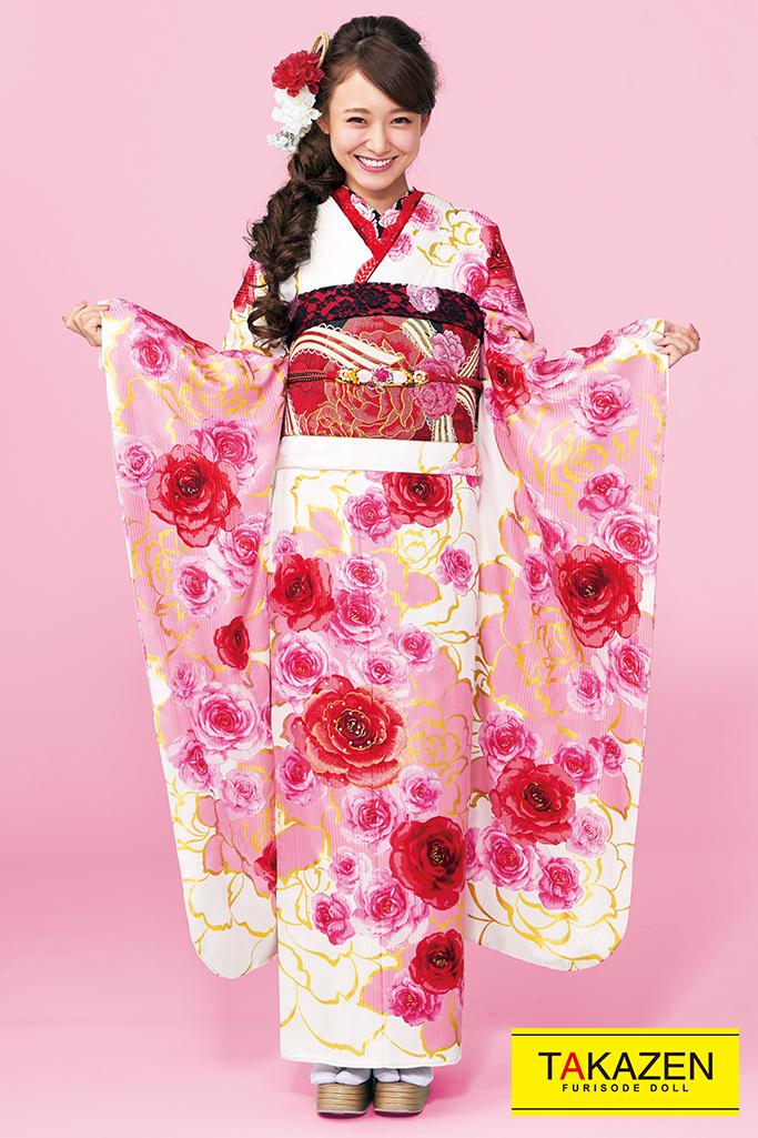 【成人式人気着物/レンタルフルセット/通販可】セシルマクビー(ゆるふわ可愛い薔薇) 白/赤/ピンク 32157