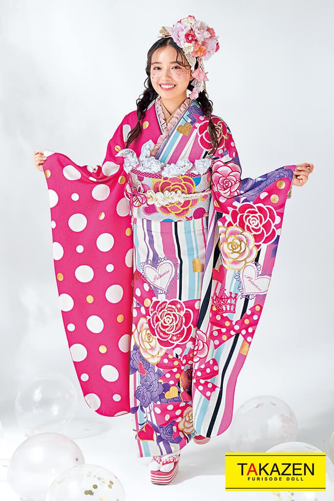 【成人式人気振袖/レンタルフルセット/通販可】キュートポップカメリア柄(Barbie振袖♡ストライプ) 白/ピンク 32159