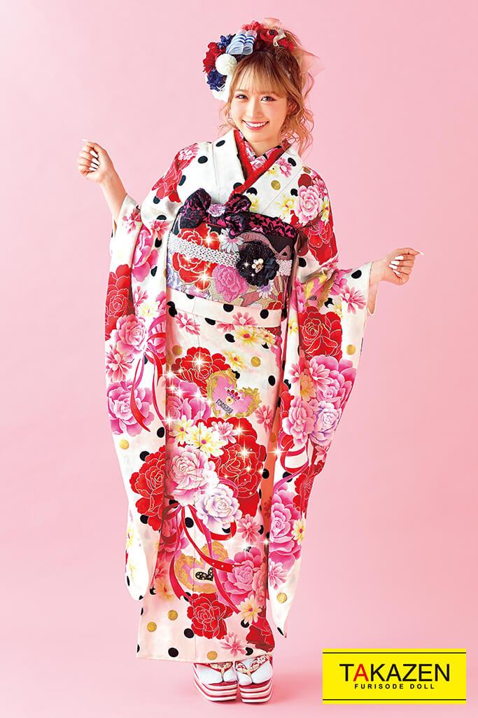 【成人式人気振袖/レンタルフルセット/通販可】キュートポップドット柄(かわいい系) 白/ピンク/赤 32160