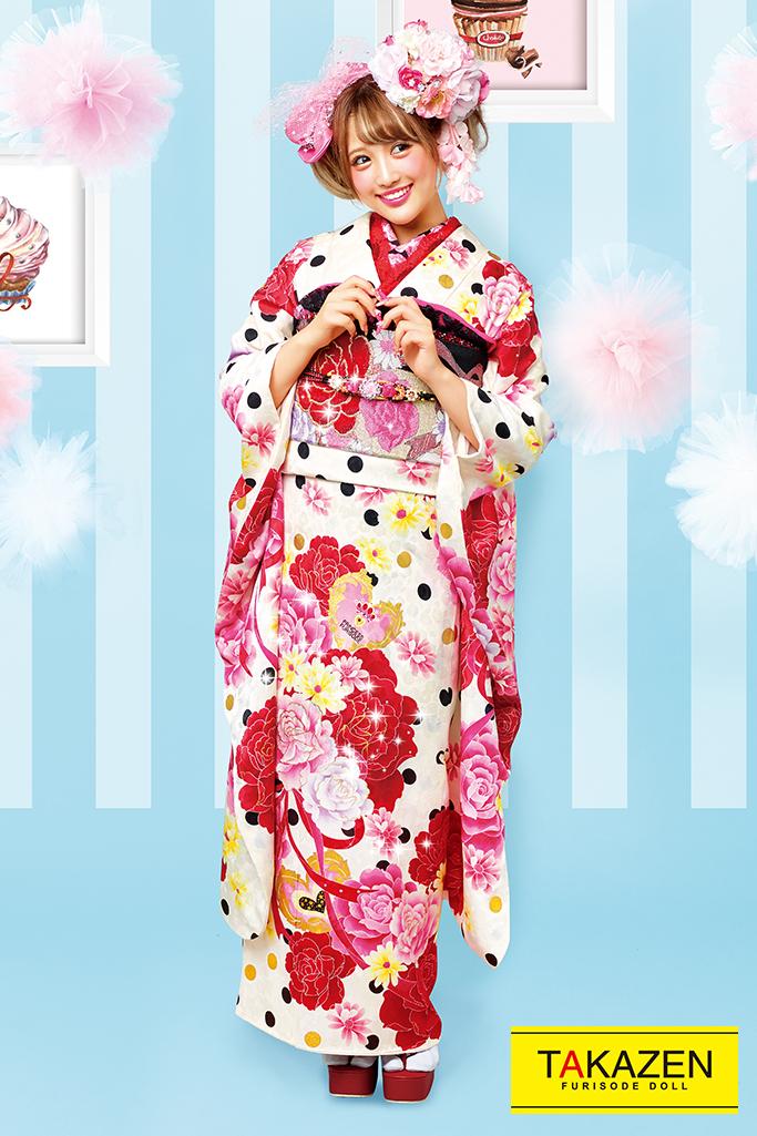 【成人式人気振袖/レンタルフルセット/通販可】キュートポップ(ドット柄かわいい) 白/ピンク/赤 32160