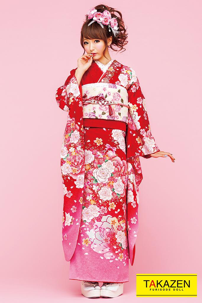 【成人式人気振袖/レンタルフルセット/通販可】キュート(ゆるふわ可愛いバラ) 白/ピンク/赤 32161