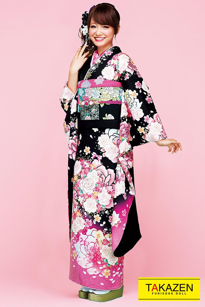 【成人式人気着物/レンタルフルセット/通販可】キュート(ゆるふわ可愛いバラ) 白/ピンク/黒 32162