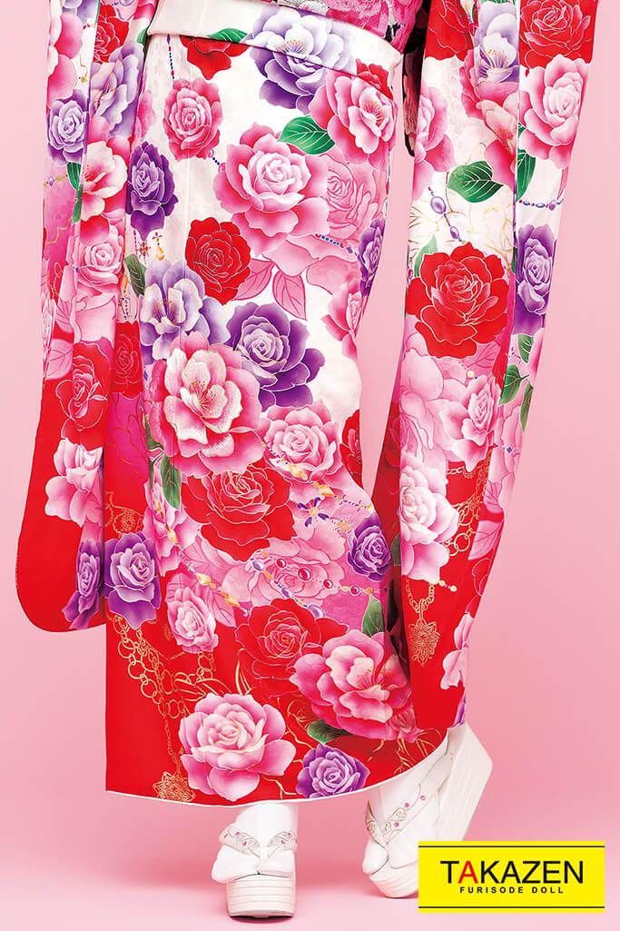 【成人式人気着物/レンタルフルセット/通販可】キュート(ゆるふわ可愛い薔薇) 白/ピンク/赤 32163